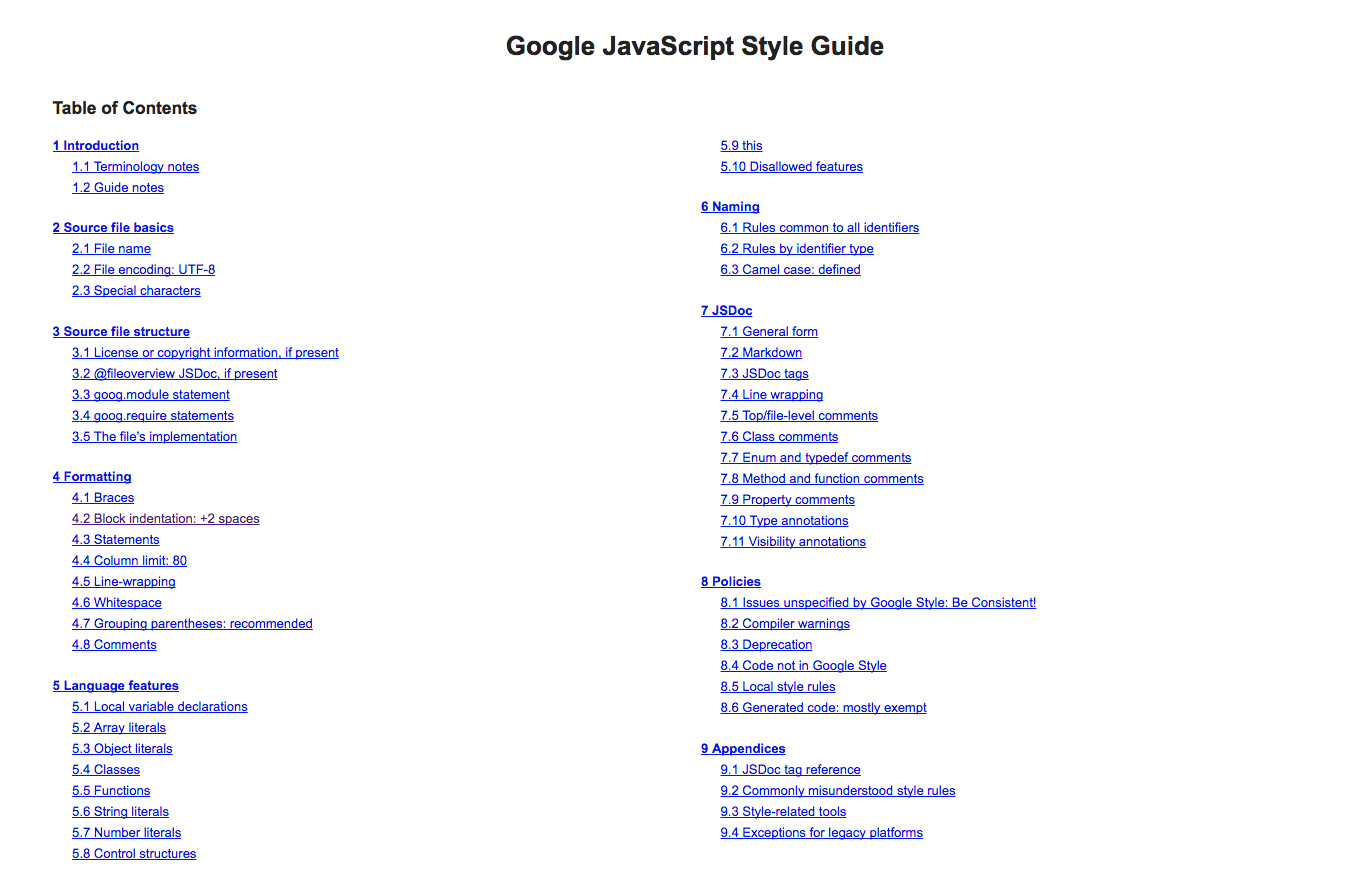A screenshot of the many categories in the Google Javascript Style guide