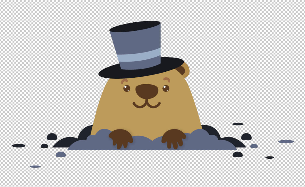 An cartoonish illustration of a groundhog. Behind it is a black and white grid representing transparency.